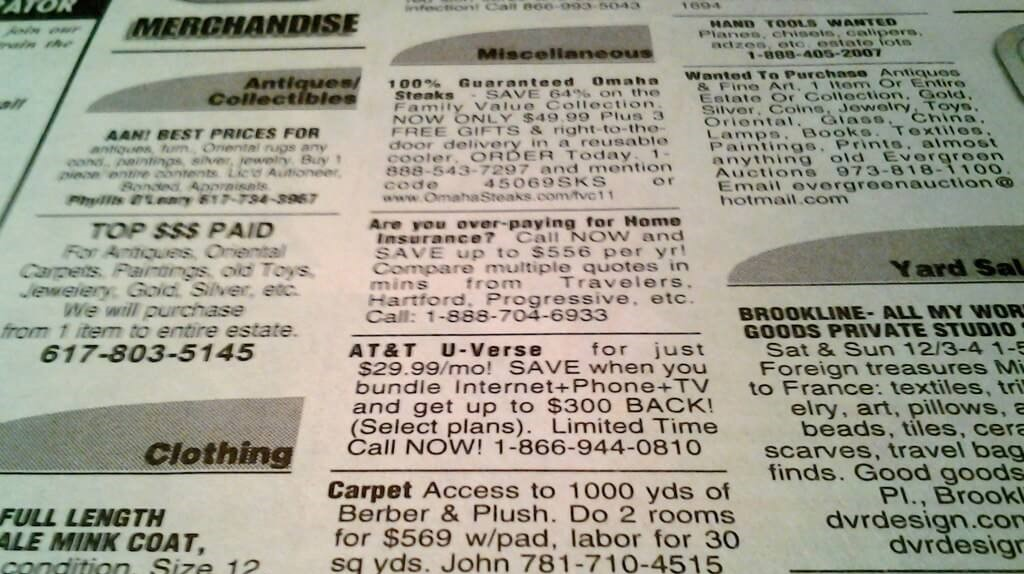 news paper ads for used foam mattress
